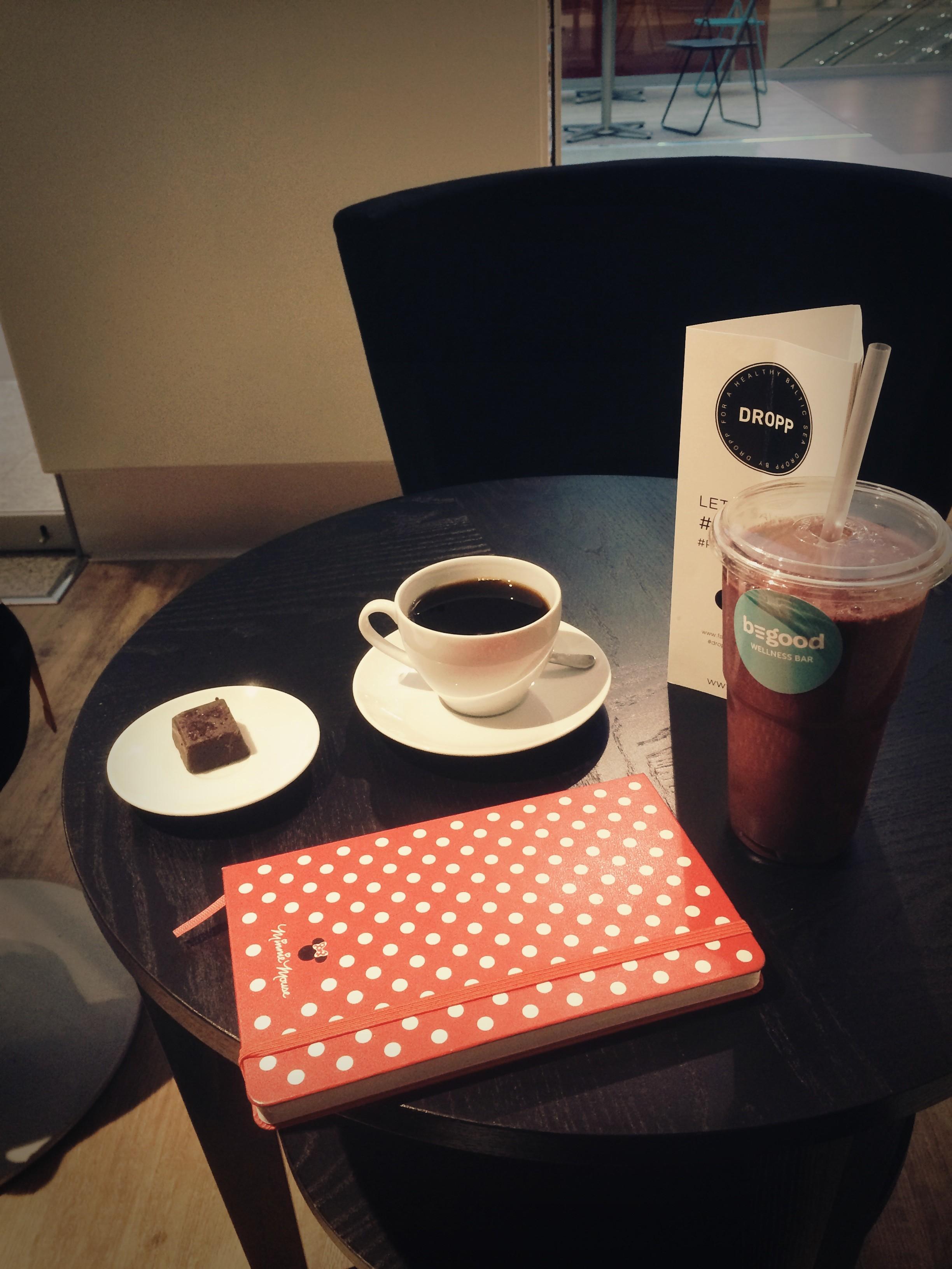 Omaa aikaa ohjausten välissä, ja poikkeavaa aamiaista kahvilassa. Smoothie, raakasuklaapala ja kahvia.